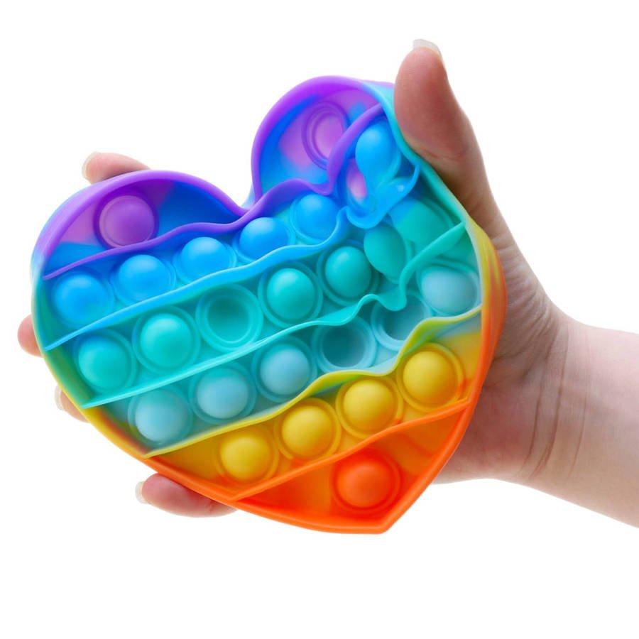 Push Bubble Pop It Zabawka Sensoryczna Bąbelki  Tęczowe Serce