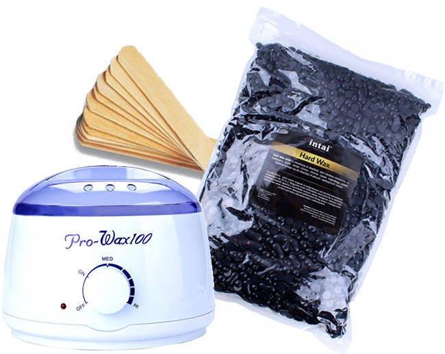 Zestaw podgrzewacz Pro-Wax 100 + wosk  INTAI w granulkach CZARNY 1000g